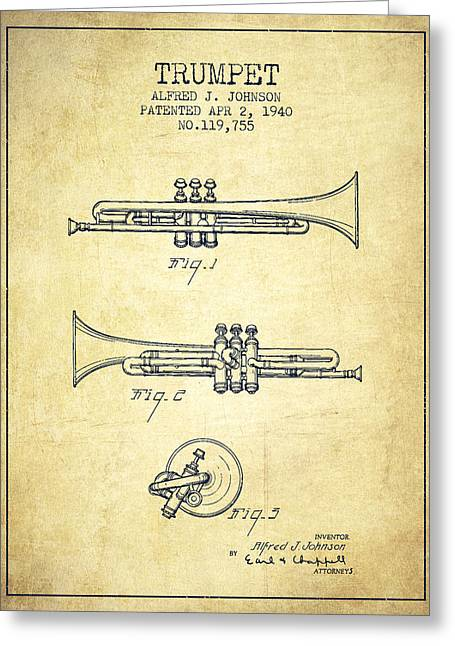Trumpet Greeting Cards - Vintage Trumpet Patent from 1940 - Vintage Greeting Card by Aged Pixel
