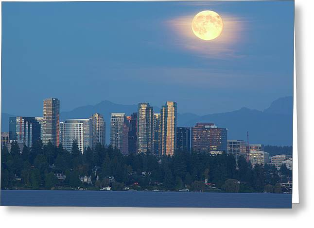 Wa, Bellevue, Full Moon Raising Greeting Card by Jamie and Judy Wild