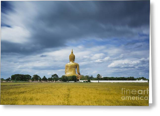 Unseen Greeting Cards - Wat Muang with gilden giant big Buddha statue Greeting Card by Anek Suwannaphoom