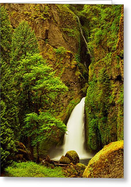 White River Scene Greeting Cards - Waterfall In A Forest, Columbia River Greeting Card by Panoramic Images