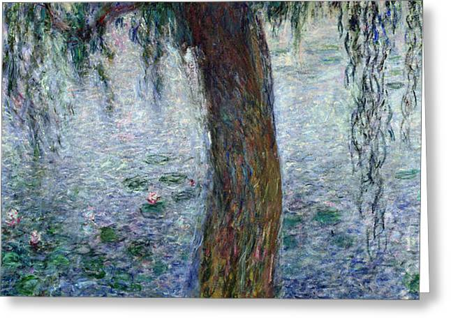 Stream Greeting Cards - Waterlilies Morning with Weeping Willows Greeting Card by Claude Monet