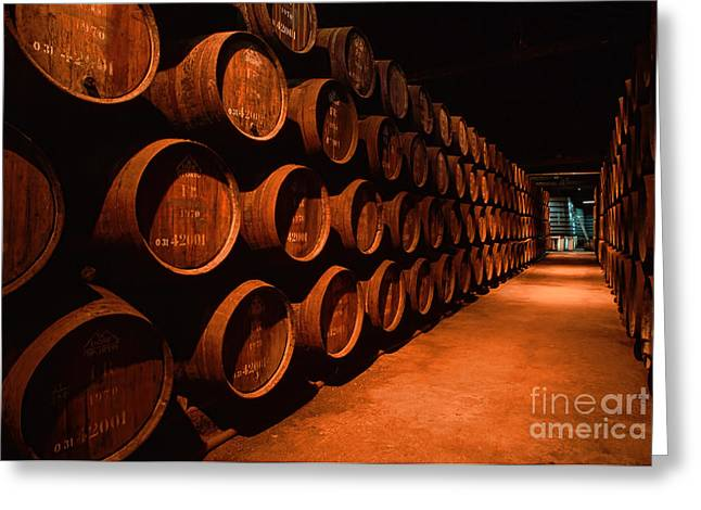 Wine-glass Greeting Cards - Winery Greeting Card by Indian Summer