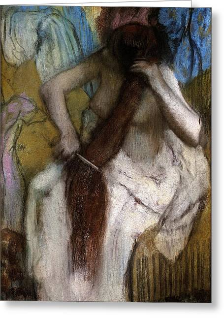 Old Masters Greeting Cards - Woman combing her Hair Greeting Card by Edgar Degas