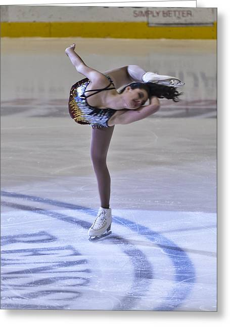 Ice-skating Greeting Cards - Woman Solo Ice Dance Greeting Card by Jiayin Ma