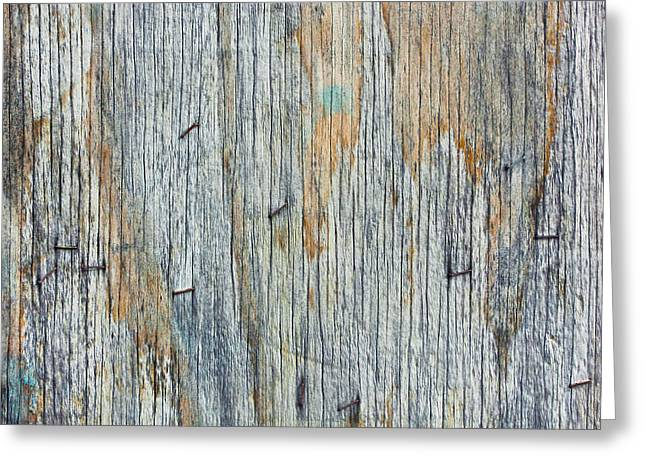 Dark Wood Table Greeting Cards - Wood background Greeting Card by Tom Gowanlock