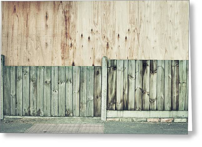 Recession Greeting Cards - Wooden background Greeting Card by Tom Gowanlock
