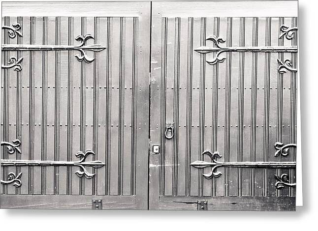 France Doors Greeting Cards - Wooden gate Greeting Card by Tom Gowanlock