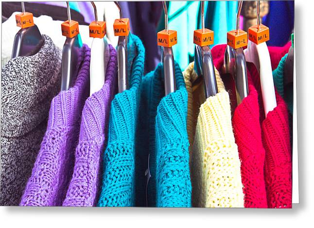 Rack Greeting Cards - Wool jumpers Greeting Card by Tom Gowanlock