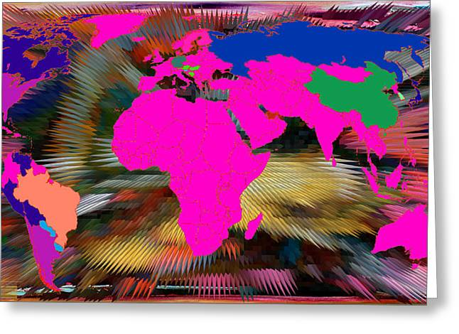 World Map And Human Life Greeting Card by Augusta Stylianou