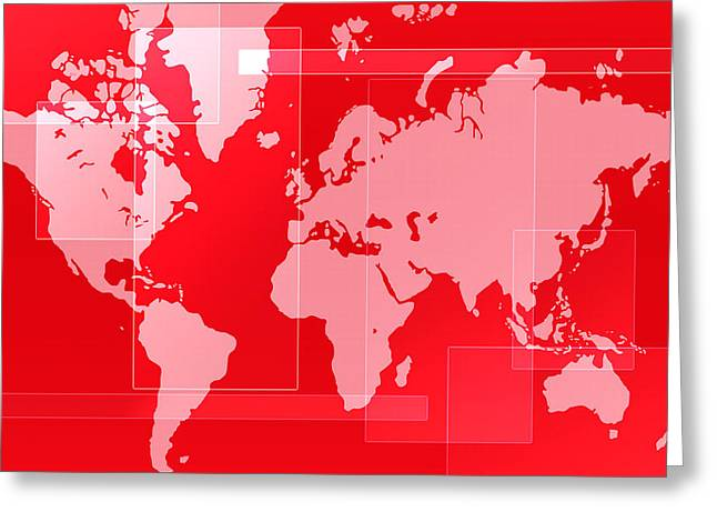 World Map Composition Greeting Card by Modern Art Prints
