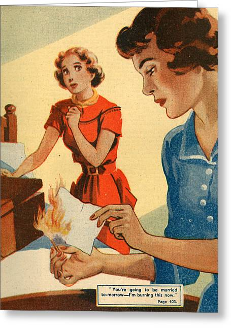 Bad News Greeting Cards - 1950s Uk Illustrations Magazine Plate Greeting Card by The Advertising Archives