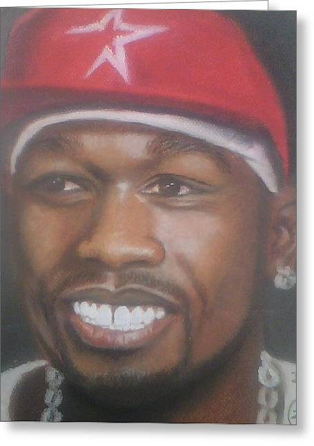 Celebrity Portraits Pastels Greeting Cards - 50 Cent  Greeting Card by Ronnie Melvin