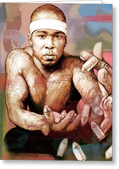 Featured Mixed Media Greeting Cards - 50 Cent - stylised drawing art poster Greeting Card by Kim Wang