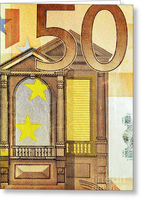 Coins Greeting Cards - 50 Euro bill Greeting Card by Luis Alvarenga