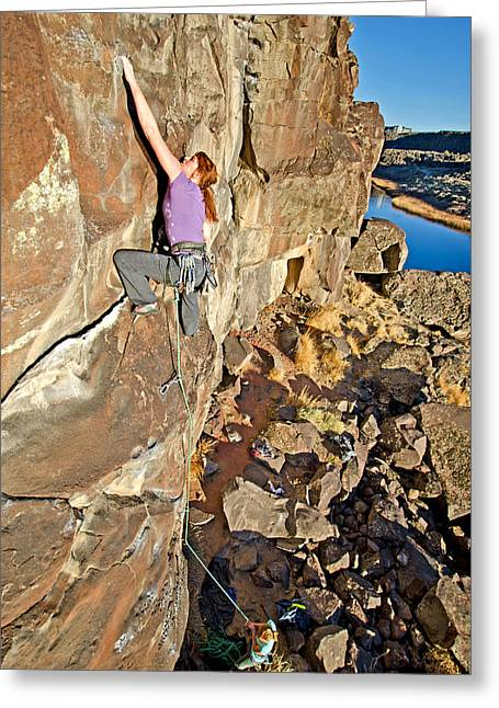 Vertigo Greeting Cards - Rock Climb Greeting Card by Elijah Weber