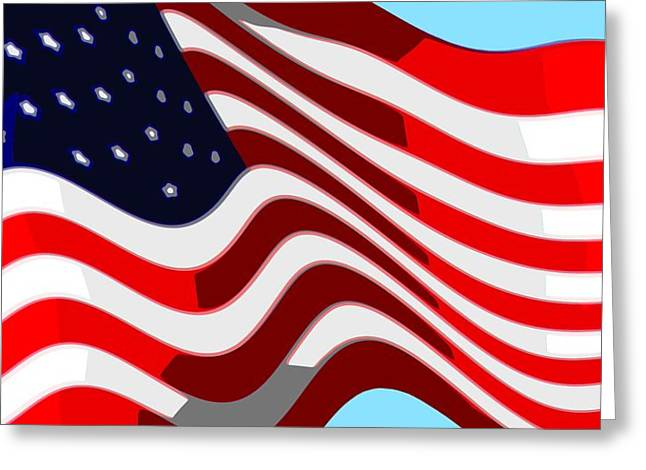 50 Star American Flag Closeup Abstract 7 Greeting Card by L Brown