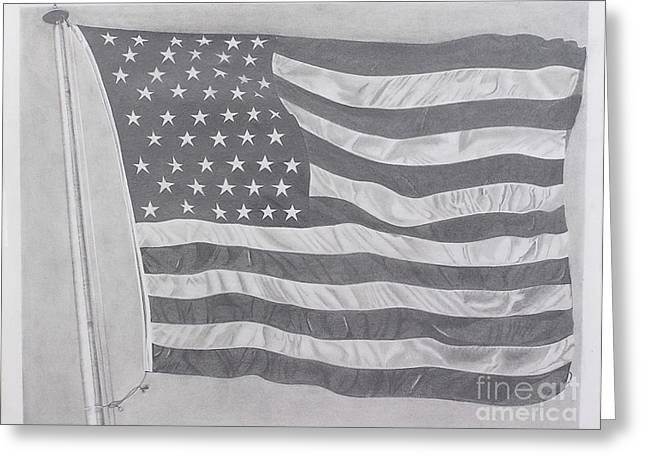 Flag Of Usa Pastels Greeting Cards - 50 Stars 13 Stripes Greeting Card by Wil Golden