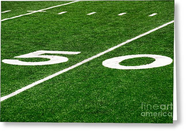 Marker Greeting Cards - 50 Yard Line on Football Field Greeting Card by Paul Velgos