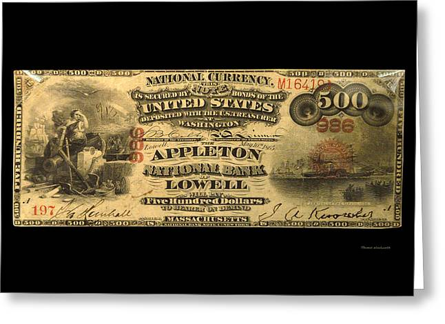 Inflation Greeting Cards - 500 Dollar US Currency Massachusetts Bill Greeting Card by Thomas Woolworth