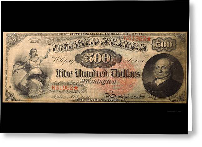 Inflation Greeting Cards - 500 Dollar US Currency Washington Bill Greeting Card by Thomas Woolworth