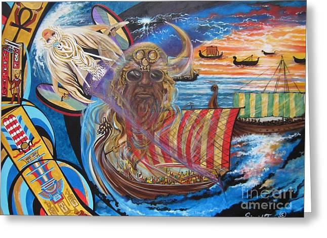 Vikings Paintings Greeting Cards - 500 Empires Never Die - Odin Greeting Card by Sigrid Tune