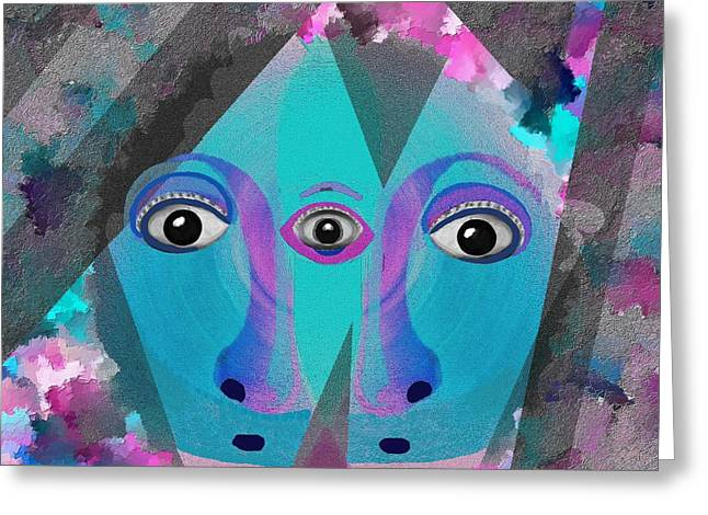 Two Faces Greeting Cards - 500  - Eyes of Fear Greeting Card by Irmgard Schoendorf Welch