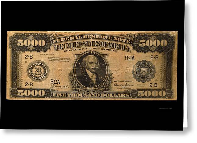 Inflation Greeting Cards - 5000 Dollar US Currency Bill Greeting Card by Thomas Woolworth