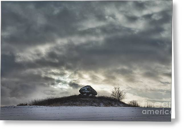 Grave Side Greeting Cards - 5000 year old Dolmen on Funen in Denmark Greeting Card by Frank Bach