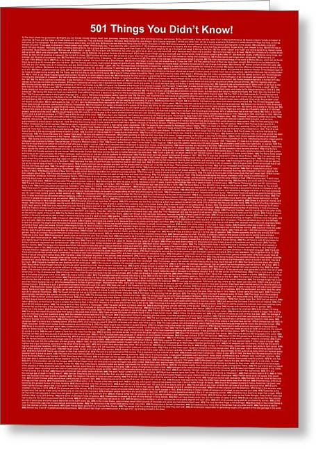 501 Things You Didn't Know - Dark Red Color Greeting Card by Pamela Johnson
