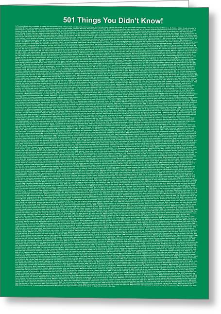 Affirmation Mixed Media Greeting Cards - 501 Things You Didnt Know - Dark Sea Green Color Greeting Card by Pamela Johnson