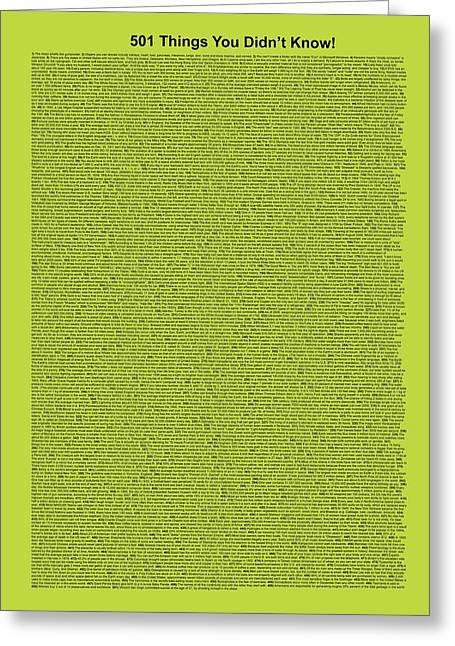 Affirmation Greeting Cards - 501 Things You Didnt Know - Lime Color Greeting Card by Pamela Johnson