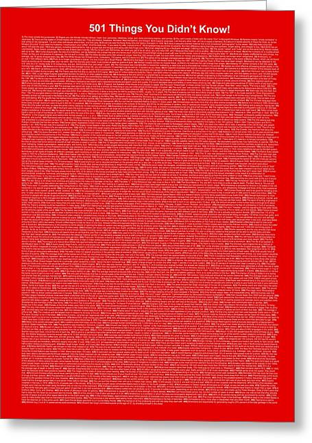 Affirmation Mixed Media Greeting Cards - 501 Things You Didnt Know - Red Color Greeting Card by Pamela Johnson