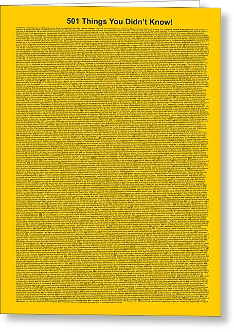 Affirmation Mixed Media Greeting Cards - 501 Things You Didnt Know - Yellow Gold Color Greeting Card by Pamela Johnson