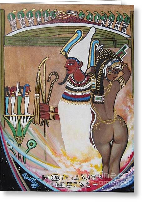 Egyptian Goddess Greeting Cards - 503 OSIRIS-ISIS and 4 Grandkids Greeting Card by Sigrid Tune