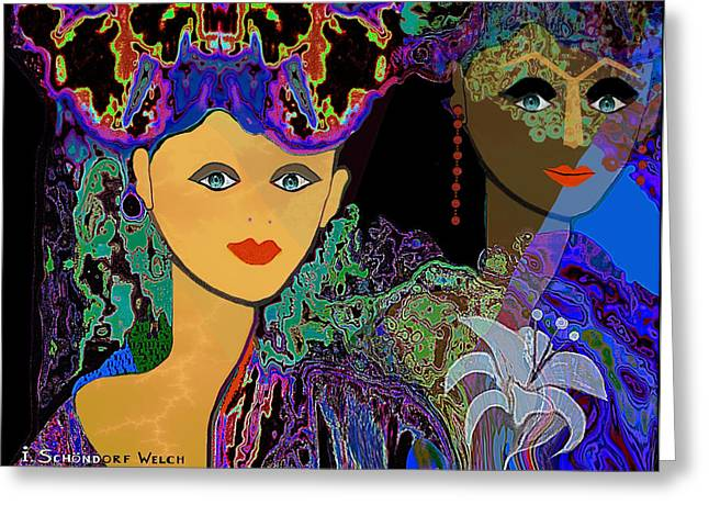 Young Lady Greeting Cards - 509 - The Colours of a summer night B . Greeting Card by Irmgard Schoendorf Welch