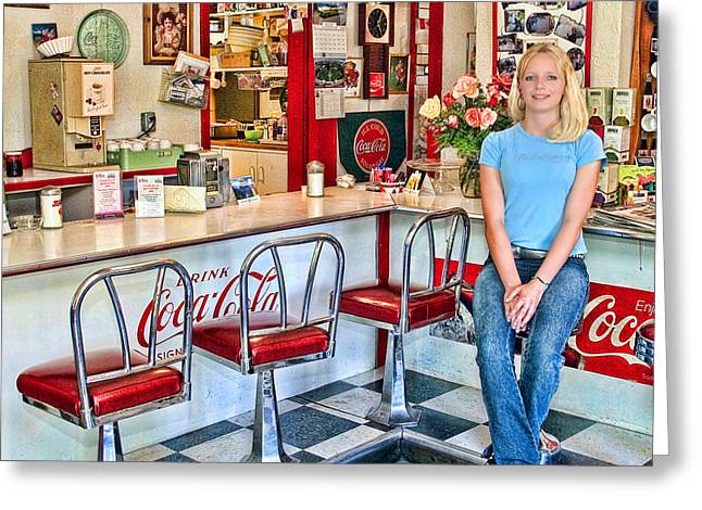 Waitresses Greeting Cards - 50s American style Soda Fountain Greeting Card by David Smith