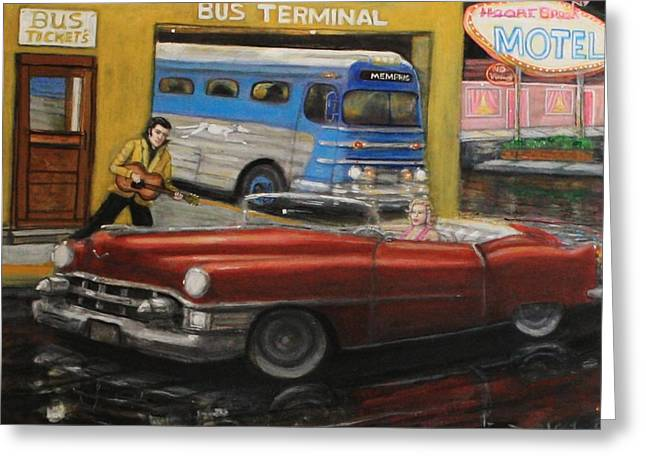 50s Bus Stop Sold Prints Avail Greeting Card by Larry E Lamb