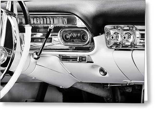 Speedometer Greeting Cards - 50s Cadillac Dashboard Greeting Card by Tim Gainey