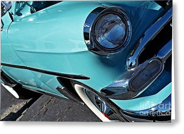 Timely Greeting Cards - 50s Chevy Timely in Turquoise Greeting Card by JW Hanley