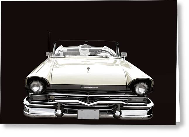 Fairlane Greeting Cards - 50s Ford Fairlane Convertible Greeting Card by Edward Fielding