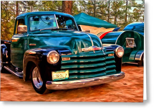Teardrop Greeting Cards - 51 Chevy Pickup with Teardrop Trailer Greeting Card by Michael Pickett