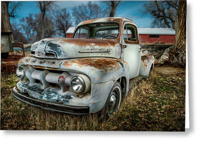 Rusted Cars Greeting Cards - 51 Ford F1 Pick-Up Greeting Card by YoPedro