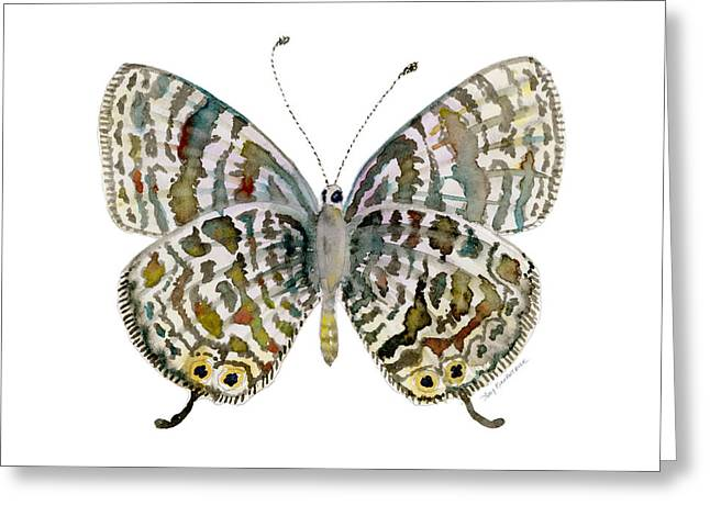 Multi-color Greeting Cards - 51 Langs Short-tailed Blue Butterfly Greeting Card by Amy Kirkpatrick