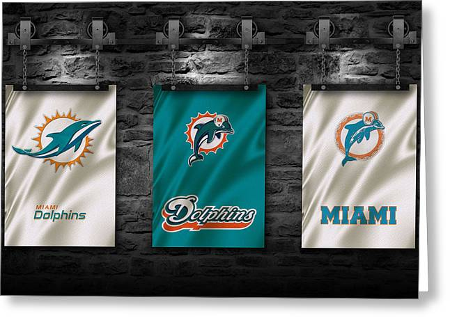 Miami Dolphins Greeting Cards - Miami Dolphins Greeting Card by Joe Hamilton