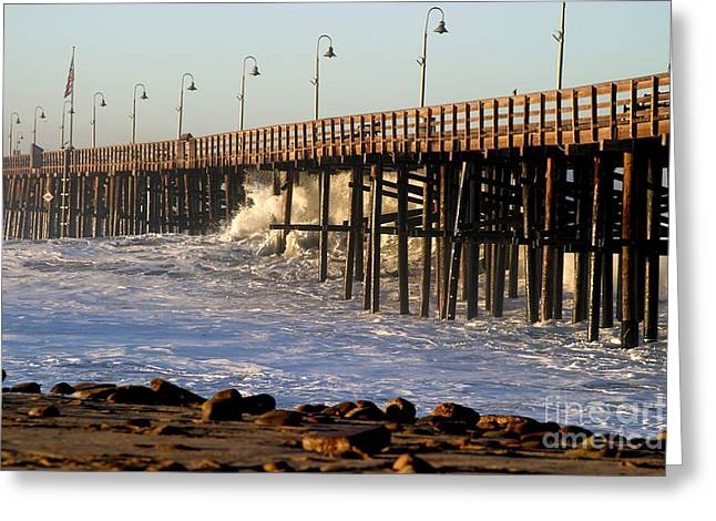 Ventura California Greeting Cards - Ocean Wave Storm Pier Greeting Card by Henrik Lehnerer