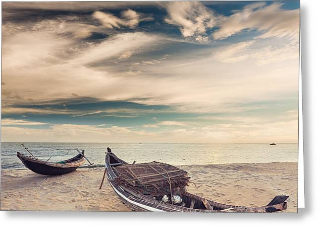 Panoramic Ocean Greeting Cards - Sunrise Greeting Card by MotHaiBaPhoto Prints