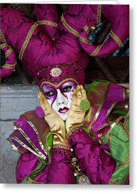 Venice, Italy Mask And Costumes Greeting Card by Darrell Gulin