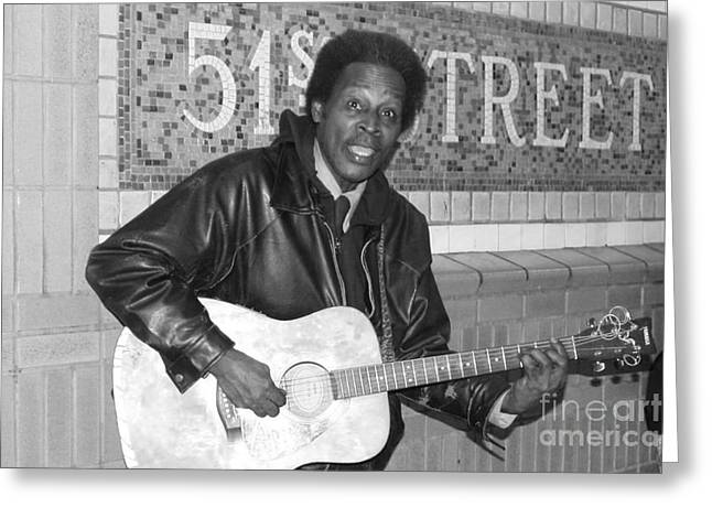 Art In Acrylic Greeting Cards - 51st Street Subway Musician Greeting Card by John Telfer