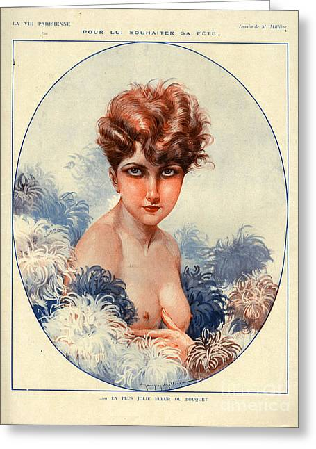 Sex Drawings Greeting Cards - 1920s France La Vie Parisienne Magazine Greeting Card by The Advertising Archives