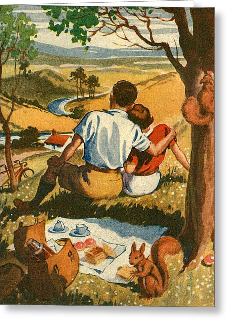 Squirrel Drawings Greeting Cards - 1950s Uk Illustrations Magazine Plate Greeting Card by The Advertising Archives